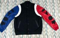 Nike Air Jordan DNA Varsity Mens Jacket Top 3 Leather/Wool Black/Bleu/Red Size L