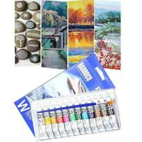 12 Color Acrylic Paint Set 6 Ml Tubes Artist Draw Painting HOT Pigment P2H1