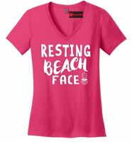 Resting Beach Face Ladies V-Neck T Shirt Funny Beach Pineapple Graphic Tee Z5