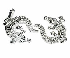 ALLIGATORS CUFFLINKS, STERLING SILVER, ENAMEL by G.DANILOFF & CO.USA