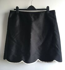 Hobbs Invitation Black Wool Silk Scalloped Straight Skirt Cream Trim Size 18 UK