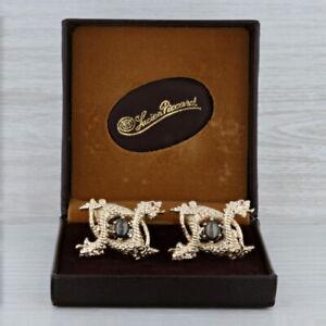 Dragon Cufflinks 14k Gold Black Star Sapphire Ruby Lucien Piccard Box Vintage