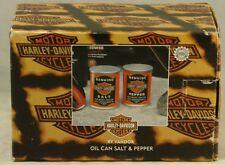 1998 Harley Davidson Oil Can Salt & Pepper Shakers by Vandor, Mint in Box
