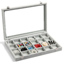 Glass Velvet Jewelry Makeup Organizer Ring Display Box Earrings Storage Case
