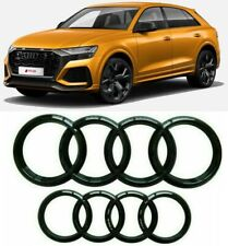 AUDI GLOSS BLACK FRONT BUMPER REAR TAILGATE RINGS BADGE EMBLEMS Q8 SQ8 RSQ8