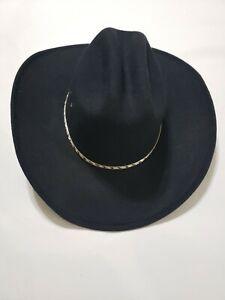 Pigalle Black Western Cowboy Show Hat Sombrero Mexico Felt 59 7 3/8 Silver Bead