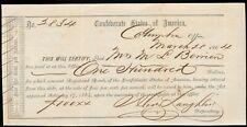 1864 Confederate States Of America Depository Receipt CIVIL WAR era