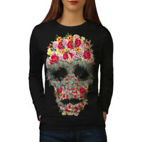 Wellcoda Skull Rose Flower Womens Long Sleeve T-shirt, Head Casual Design