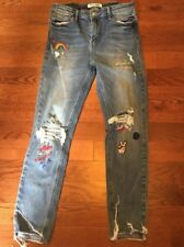 Tally Weijl Jeans Women's Size 40 Raw-edge Hem Embroidered California Dreams 4