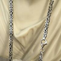 925 Sterling Silver Mens Box King Byzantine Chain Necklaces Oxide 121GR 26Inch