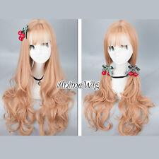 70CM Lolita Wavy Long Light Orange Party Heat Resistant Thin Bangs Wig Cosplay