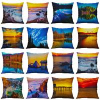 18'' Beach Scenery Pillow Case Cotton Linen Sofa Cushion Cover Throw Home Decor