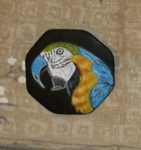 Parrot Bird Hand Painted Brooch Pin Jewelry for Women