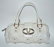 "Valentino Garavani Ivory Leather Catch Satchel Bag Wood & Gold w/Turquoise ""V"""