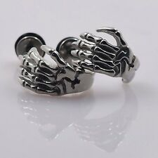 Stainless Steel Skeleton Hand Stud Earrings Silver Ear Studs Cheater Gauge Plugs