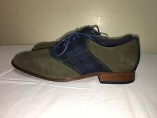 Cole Haan Plaid Wool Forest  Green Suede 9.5M Mens Oxford Dress Shoes