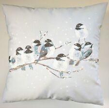 "Shabby Chic Cushion Cover in Laura Ashley Winter Grey Garden Bird 16"""