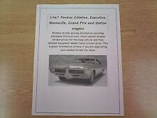 1967 Pontiac full-size factory cost/dealer sticker prices for car & options $