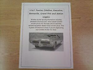 1967 Pontiac full-size factory cost/dealer sticker prices for 67 car & options $