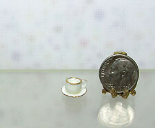 Dollhouse Miniature Quality Porcelain Cup & Saucer Set with Gold Edge