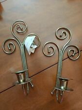 Vintage Home Interior Swirl Brass Candle Wall Sconces - Set of 2 Original box