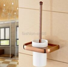 Rose Gold Copper Wall Mounted Bathroom Accessory Toilet Brush & Holder fba869