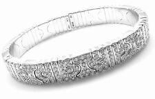 Authentic! BULGARI BVLGARI Parentesi 18k White Gold Pave Diamond Bangle Bracelet