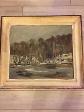More details for oil on canvas painting depicting winter landscape.