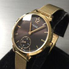 Ladies Pulsar Watch By Seiko Classic Sub Dial Gold Black Steel Mesh VD78-X017