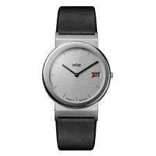 Braun Mens Gents Classic Watch Black Leather Strap AW 50 Swiss Movement