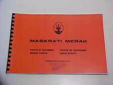 Maserati Merak Spare Parts Manual Book Reprint