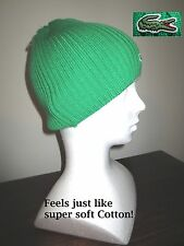 Lacoste 100% Wool Ribbed Knit Beanie Hat w/ signature logo Croc in green, NWT