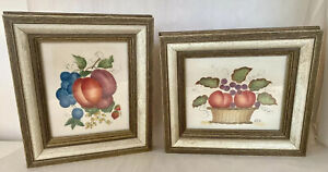2 Vintage Folk Art Framed Theorem Paintings Still Life Fruit Leaves - Signed