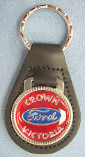Red Ford CROWN VICTORIA Black Leather Keyring Center logo 1971 1972 1973 1974