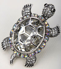 Turtle brooch pin pendant animal bling antique jewelry silver BA15 gift for wife