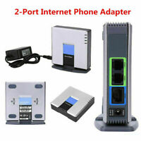 Unlocked For Linksys PAP2T PAP2T-NA SIP VOIP Phone Adapter 2-Port Gateway RJ45