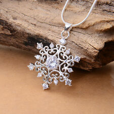 Nice Crystal Snowflake Silver Pendant For Necklace Earring