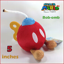 Super Mario Bros Plush Bob-omb Bomb Soft Toy Doll Stuffed Animal Red 5""