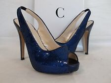 Caparros Sz 6 M Channing Blue Satin Open Toe Sling Backs Heels New Womens Shoes