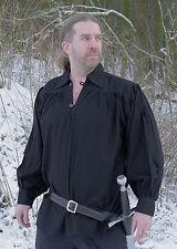 Ritterhemd, schwarz, Mittelalter LARP Gewandung Kleidung Piratenhemd Wikinger