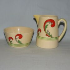 pure art deco ROYAL DOULTON LYNN pattern COFFEE SIZE SUGAR AND CREAMER