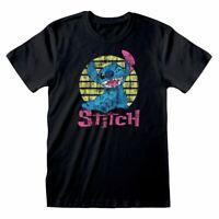 Disney Lilo & Stitch Vintage Stitch Ajusté T-Shirt Femelle Moyen Noir