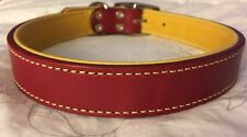 New Circle T Coastal Pet Products Premium Red/Yellow Leather Dog Collar 22