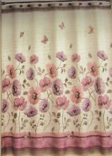 "NEW FLOWER FLOWERS ""FLORAL WALTZ"" PURPLE AND WHITE FABRIC SHOWER CURTAIN"