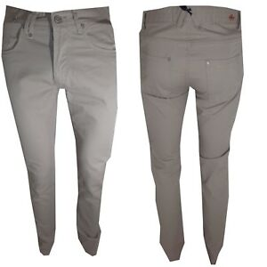 pantaloni jeans uomo slim fit cotone estivi Vita Bassa Aderenti beige 44 casual