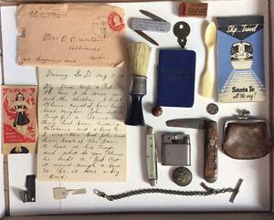 Estate Antique Vintage Man's Junk Drawer Knives Paper Key Button Marble Lighter