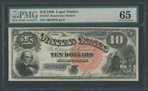FR107 $10 1880 L.T. PMG 65 GEM UNC FULLY EMBOSSED VERY WELL CENTERED WLM6953