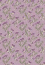 Fat quarter chardons sur lilas fleurs scotland 100% coton quilting tissu