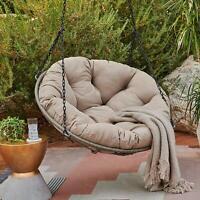 Outdoor Wicker Hanging Papasan Chair w/ Cushion & Chains Patio Porch Furniture