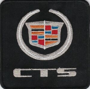 CADILLAC CTS BLACK SILVER SEW/IRON ON PATCH EMBLEM BADGE EMBROIDERED V8